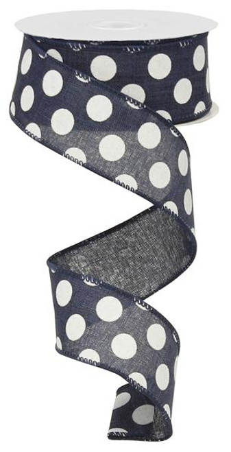 "Navy Blue/Wht Polka Dot Ribbon - 1.5"" x 10Yds"