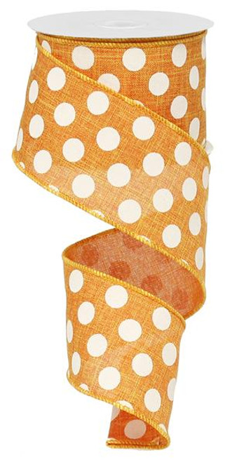"2.5"" x 10yd Linen Polka Dot Ribbon: Orange/White"
