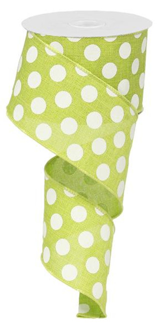"2.5"" x 10yd Linen Polka Dot Ribbon: Lime Green/White"