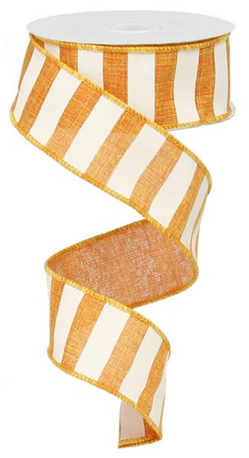 "1.5"" x 10yd Horizontal Stripe Ribbon: Orange/White"