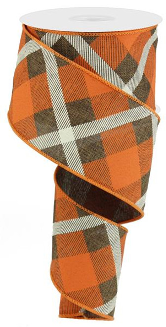 "2.5"" Diagonal Plaid Ribbon: Brown/Orange/Cream - 10yds"