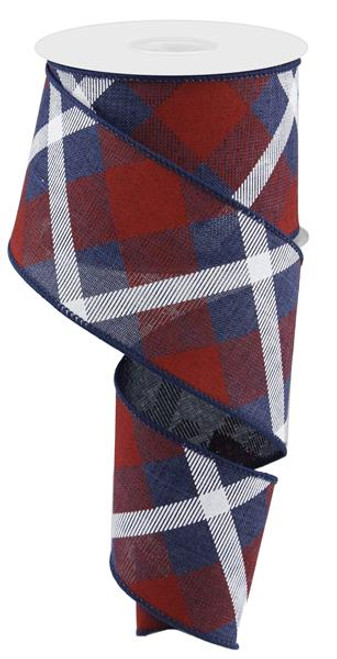 "2.5"" Diagonal Plaid Ribbon: Navy Blue/Red/Wht - 10yds"