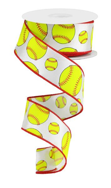 "1.5"" Softball Print Ribbon - 10Yd"