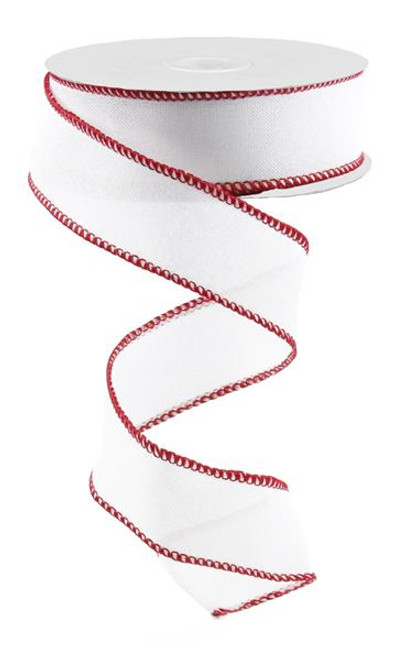 "1.5"" Rough Stitch Edge Ribbon: White/Red - 10Yd"