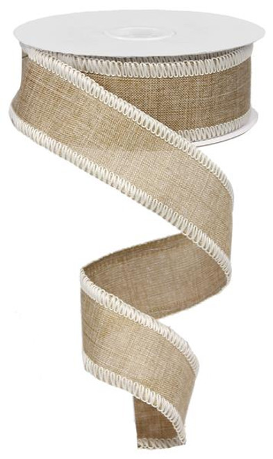 "1.5"" Rough Stitch Edge Ribbon: Natural/Cream - 10Yd"