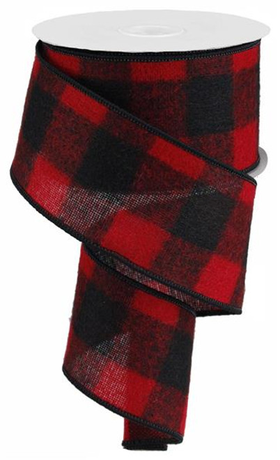 "2.5"" Fuzzy Large Check Ribbon: Red/Black - 10Yds (Buffalo Plaid)"