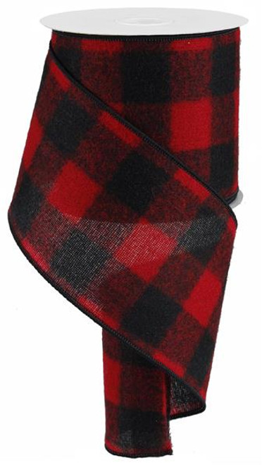 "4"" Fuzzy Large Check Ribbon: Red/Black - 10Yds (Buffalo Plaid)"