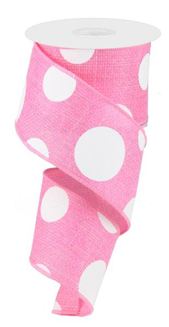 "2.5"" x 10yd Faux Burlap Giant Dot Ribbon: Pink/White"