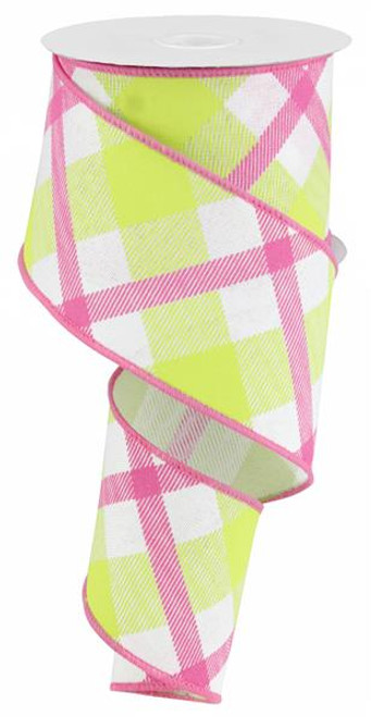 "2.5"" Diagonal Plaid Ribbon: White/Lime Green/Pink - 10yds"