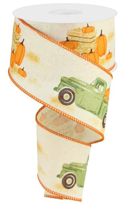 "2.5"" Green Truck w/ Pumpkins Ribbon: Cream"