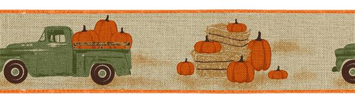 "2.5"" Green Truck w/ Pumpkins Ribbon: Beige"
