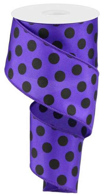 "2.5"" Satin Polka Dot Ribbon: Purple/Black"