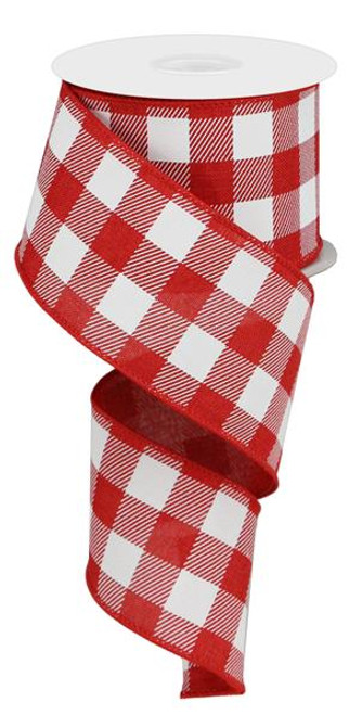 "2.5"" Plaid Check Ribbon: Red/White - 10Yds"