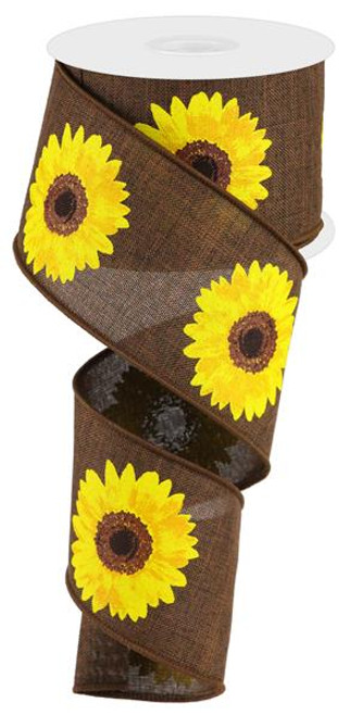 "2.5"" Bold Sunflower Ribbon: Dark Brown - 10Yds"