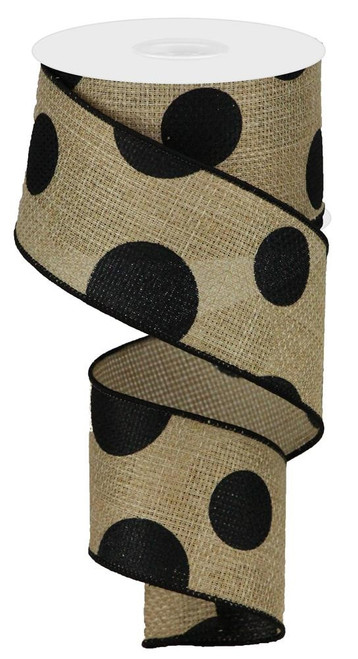 "2.5"" x 10yd Faux Burlap Giant Dot Ribbon: Beige/Black"