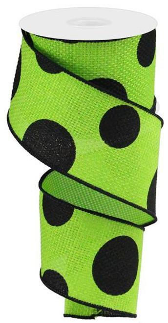 "2.5"" x 10yd Faux Burlap Giant Dot Ribbon: Lime Green/Black"