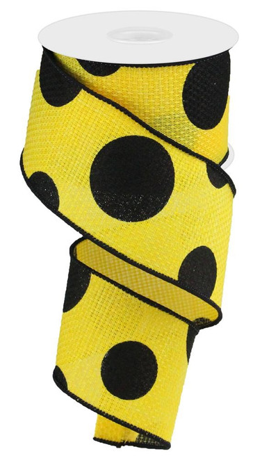 "2.5"" x 10yd Faux Burlap Giant Dot Ribbon: Yellow/Black"