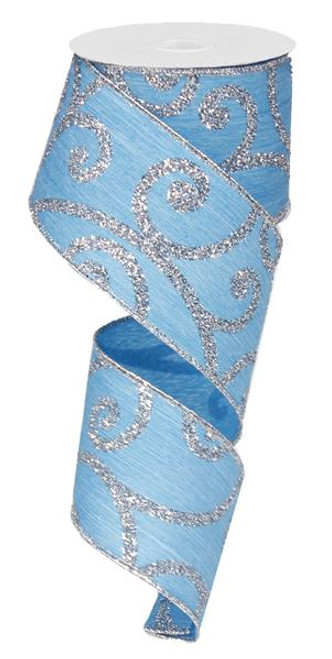 """2.5"""" Bold Scroll Ribbon: Turquoise/Silver - 10Yds"""