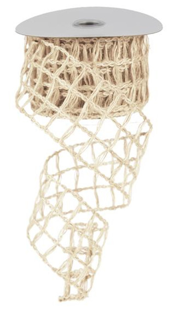 "Cream Jute Netting Ribbon - 2.5"" X 10Yds"