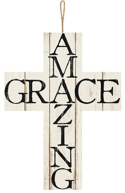 "14"" Amazing Grace Wood Cross"
