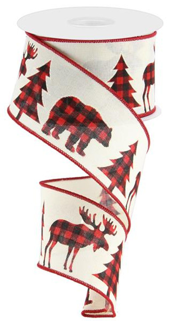"2.5"" Plaid Moose/Bear/Tree Ribbon: Cream/Red/Black - 10Yds"