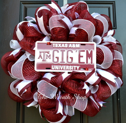 Mesh Texas A&M Wreath - Gig 'Em License Plate