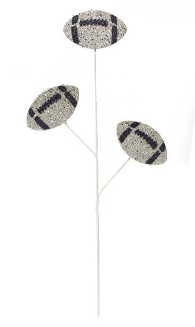"24"" Glitter Triple Football Pick: Silver/Navy Blue"