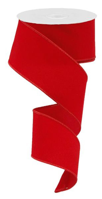 "2.5"" Indoor Velvet Ribbon: Red - 10yds"