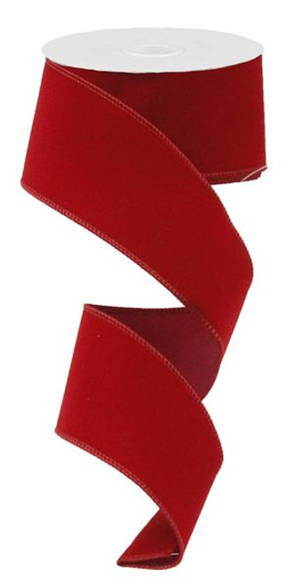 "2.5"" Indoor Velvet Ribbon: Cranberry - 10yds"