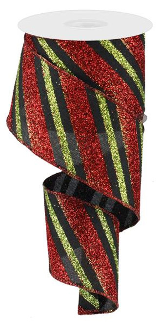 "Diagonal Glitter Stripe Ribbon: Black/Red/Lime - 2.5"" x 10yd"