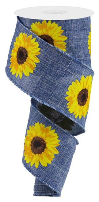 "2.5"" Bold Sunflower Ribbon: Denim - 10Yds"