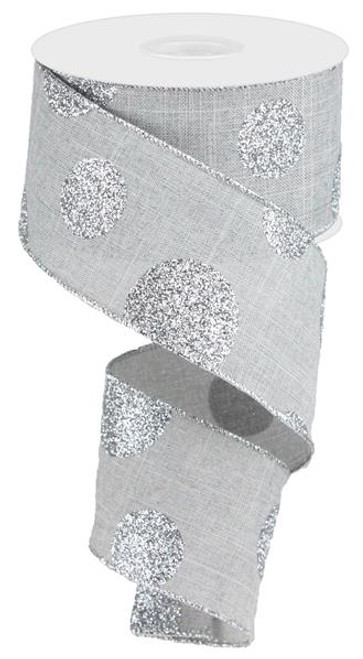 "2.5"" x 10yd Linen Giant Dot Ribbon: Grey/Glitter Silver"