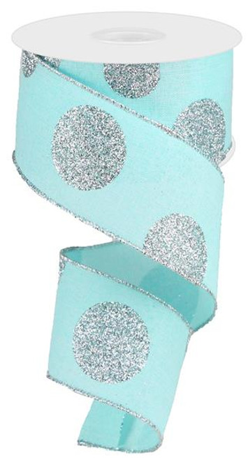 "2.5"" x 10yd Linen Giant Dot Ribbon: Ice Blue/Glitter Silver"