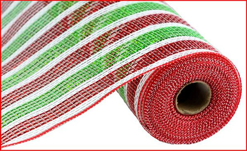 "10"" Deco Poly Mesh: Laser Red/Lime/White Stripe"