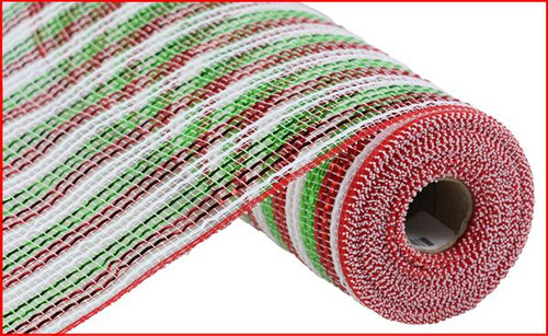 "21"" Deco Poly Mesh: Deluxe Christmas Stripe"