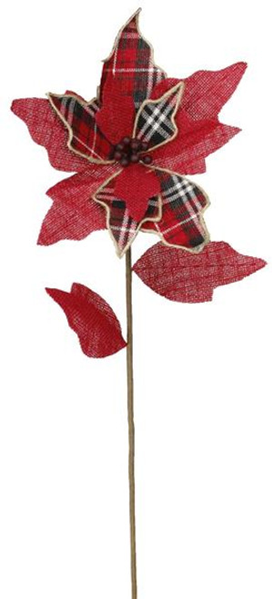 "28"" Red/Black/White Plaid Poinsettia Stem"