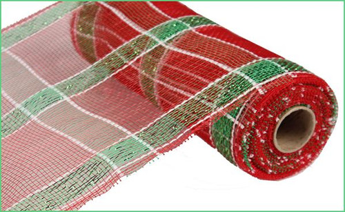 """10"""" Deco Poly Mesh: Red Plaid/Lime Green Foil"""