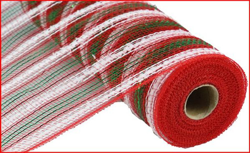 "10.5"" Metallic Snowdrift Mesh: Red/Wht/Emerald Stripe (10 Yards)"