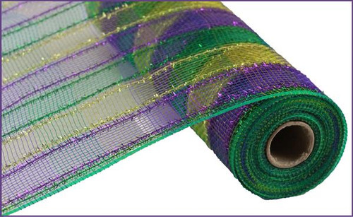 "10"" Tinsel Deco Mesh: Mardi Gras Purple Green Gold Stripe"