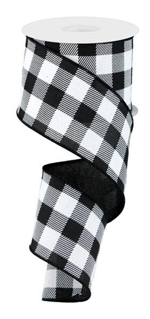 "2.5"" Plaid Check Ribbon: Black/White - 10Yds"