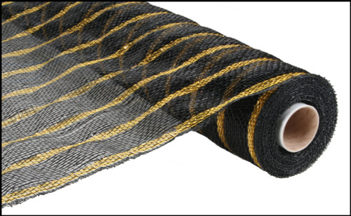 "Deluxe Metallic Stripe Wide Black with Thin Laser Gold - 21"" x 10Yd (RE1033H6)"