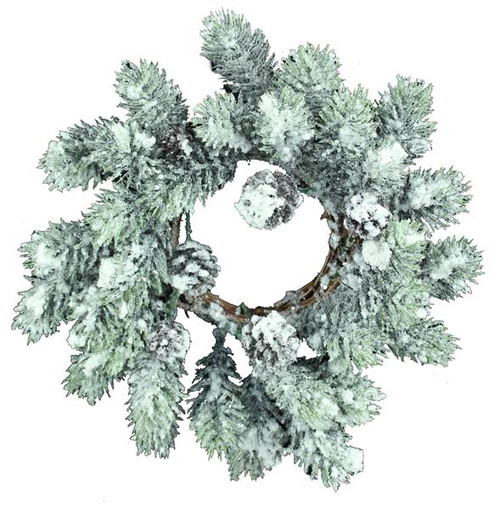 """11"""" Flocked Pine Wreath/Candle Ring"""