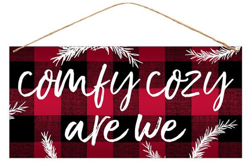 "12"" Tin Comfy Cozy Are We Buffalo Check Sign"