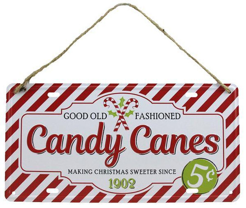 "12"" Tin Candy Canes Sign"
