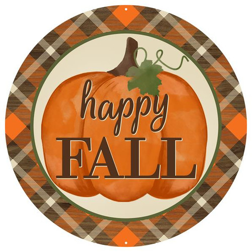 "12"" Metal Happy Fall Pumpkin Sign"