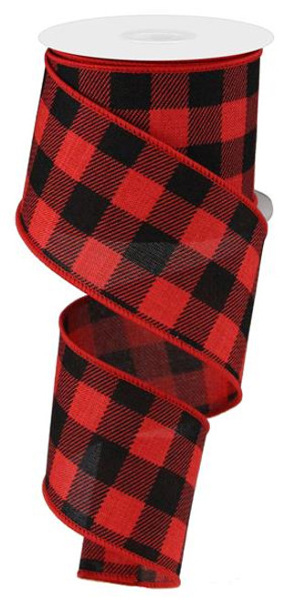 "2.5"" Plaid Check Ribbon: Black/Red - 10Yds"