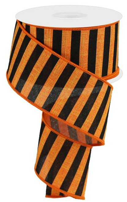 "2.5"" Medium Horizontal Stripe Ribbon: Orange/Black"