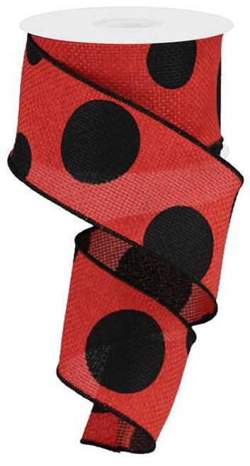 "2.5"" x 10yd Faux Burlap Giant Dot Ribbon: Red/Black"