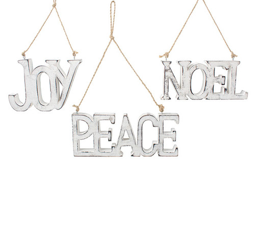 White/Silver Wood Ornaments: Joy/Peace/Noel