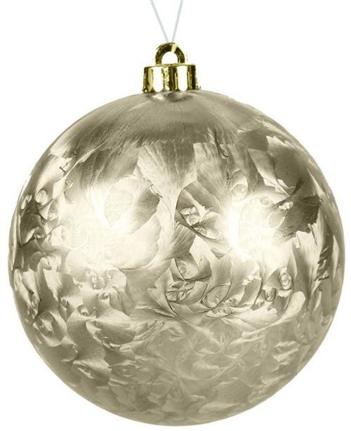 80mm Smooth Feathered Ball Ornament: Champagne